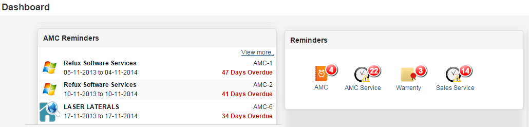 AMC Management and AMC Service reminders